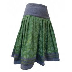 Rock mit grauem Sattelbund in Wolle mit grün - 58 cm