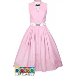 70 cm - Kleid mit Stehkragen in rosé mit Gürtel - Berwin & Wolff  70 cm