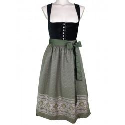 """70 cm - Samtdirndl """"Rosamunde"""" in schwarz mit olivgrün  von Turi"""