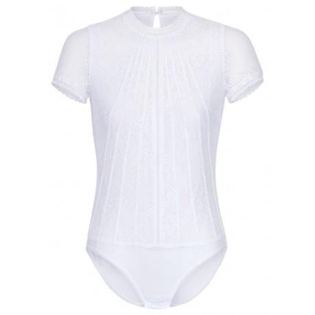 Hochgeschlossener Body mit Spitze in weiß mit kurzem Arm - Waldorff