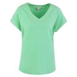 Blusen Shirt in Spring Green mit V-Ausschnitt - Milano Italy